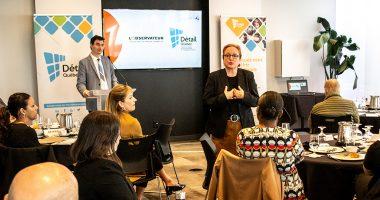 Michelle Rivard et Manuel Champagne lors de la conférence sur l'étude des besoins de main-d'oeuvre et de formations des détaiullants du Québec en lien avec le commerce électronique.